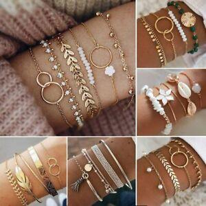 Multi-layer Boho Gold Crystal Turquoise Bracelet Set Cuff Bangle Chain Women Hot