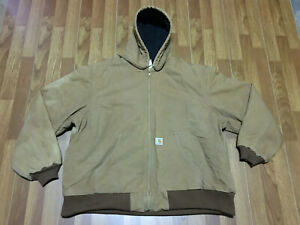 MENS 2XL - Carhartt J140 Duck Quilted Flannel Lined Work Hooded Jacket Brown USA