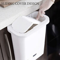 Wall-Mounted Kitchen Cabinet Door Hanging Trash Can Dustbin With Sliding Lid 0