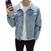 Men's vintage badge Hole denim jeans Coat Jackets motor denim Coat Outwear