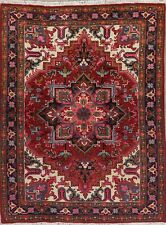 Geometric Oriental Heriz Area Rug Wool Red Traditional Hand-Knotted Tribal 5x7