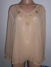 Size 16 Beige Long Sleeve V Neck Evening Tunic Style Top NWT