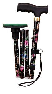 "ACCLAIM Bowlers 33""-37"" Black Floral Metal Folding Green Protector Walking Stick"