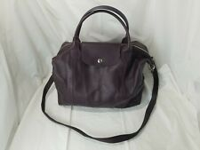 Longchamp Modele Depose Plum Leather Handbag Tote Bag with Long Strap