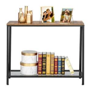Industrial Sofa Side Console Table Metal Frame Storage Shelf Narrow Entryway