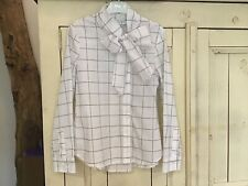 Girls White & Blue Check Bow Blouse by Elsy, EU 36 Age 10