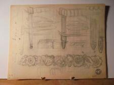 ART DÉCO 1930 Rare Dessin Mobilier Architecture Jean Fressinet Signé Cachet -13