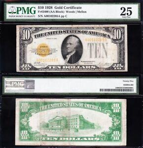 VERY NICE Bold & Crisp VF 1928 $10 GOLD CERTIFICATE! PMG 25! FREE SHIP! 02285A