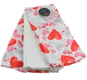 Cynthia Rowley Valentines Day Hearts 3 Pack Kitchen Hand Dish Towels Pink