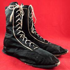 Vintage Victorian Womens Black Silk Athletic Sportswear Swim Shoes Bathing Boots