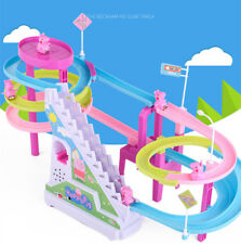 Kids TV Peppa Pig Amusement Rechargeable Electric Climb Stairs Track Music Toys