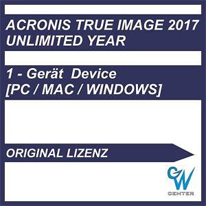 Acronis True Image 2017 [1 PC Gerät / Unbegrenzte Jahre] ORIGINAL Key