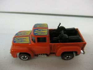 1973 Hot Wheels Orange Truck with Flames and Motorcycles