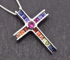 925 Sterling Silver Deco MultiColor Rainbow Drop Cross Sapphire Pendant Necklace