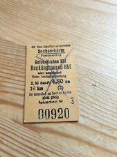 Deutsche Bahn Alte Sechserkarte von Gelsenkirchen nach Recklinghausen 4.80 DM