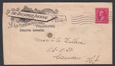 USA 1898 HOME JOURNAL PHILADELPHIA COVER BARRY #34? MACHINE CANCEL H #63 RF S