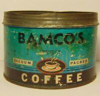 Vintage 1940s BAMCO Coffee GRAPHIC COFFEE TIN 1 POUND PHILADELPHIA PENNSYLVANIA