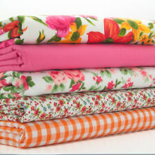 Fat Quarter Fabric Bundle Pink Orange Vintage Floral Polycotton Material Remnant
