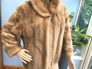 Vintage Molho Light Brown Real Mink Fur Coat Jacket Size M