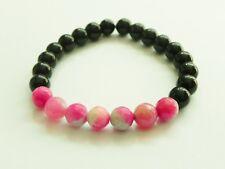 Black onyx with pink and white agate stretch gemstone bracelet