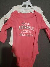 Baby girl Long Sleeve pink and white Tops Size 9 Months