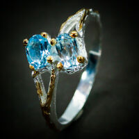 Anniversary Vintage Natural Blue Topaz 925 Sterling Silver Fine Ring / RVS273