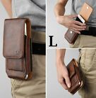 """iPhone 13 (6.1"""") - Brown VERTICAL Leather Card Slot Pouch Belt Clip Holster Case"""