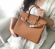 Womens 30 CM Style Designer Inspired Geniune Leather Tote Silver Lock Bag