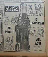 Large 1953 newspaper ad for Coca-Cola -  Is Universal, All People All Ages