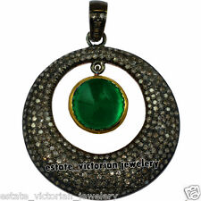 Estate Vintage 3.65cts Rose Cut Diamond Emerald Studded Silver Pendant Jewelry