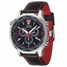 DETOMASO Aurino Mens Watch Chronograph Sapphire Coated Glass Leather Strap New