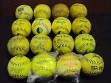 """Assorted 12"""" Slow Pitch Yellow Softballs. 16 PC. Lot 2 New. Tight Hides & Seams"""