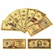7Pcs/Set Gold Foil US Dollar Fake Banknote Money Commemorative Collection