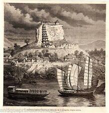 Antique print Indochina Asia rock pagoda jonk ship river 1873