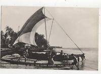 Fishing Boats On The Shore Ceylon Vintage RPPC Postcard US019