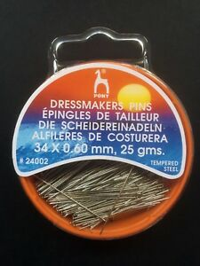Dressmakers Pins Pony Box of 25grms Size ø0.60 Choice Of Lengths Design-Surgery®