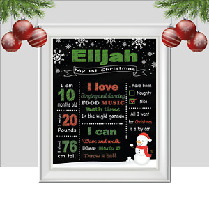 Personalised Print for Babies First Christmas, Snowman Baby Gift, Xmas Keepsake