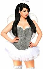 Daisy Corsets Women's 4 Piece Glitter Angel Costume, Silver, Small