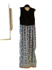 Ab Studio Womens Large Black White Mandala Print Long NEW Maxi Skirt Side Slit