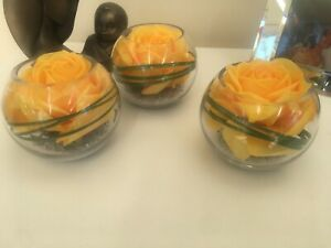 LUXURY SET OF 3 LARGE YELLOW ROSE ARTIFICIAL FLOWER GLASS BOWL ARRANGEMENTS