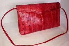 RED SNAKESKIN Clutch PURSE w/ shoulder strap envelope snap closure