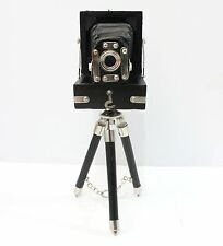 Antique Style Vintage Folding Camera With Black Wooden Tripod Home Decorative