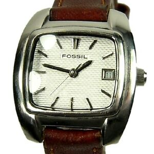 FOSSIL women's watch Rd. Rect. White Dial Date - SMALL brown leather (SEE VIDEO)
