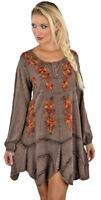 Nwt SACRED THREADS brown stonewashed embroidery rayon flared DRESS S M Free ship