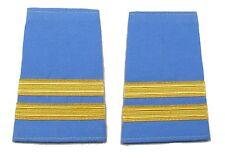 More details for epaulette captain first officer pilot 2 gold bars on light blue cloth r1707