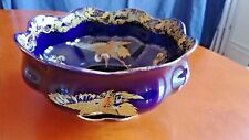 "1920s H.H. & G. Ltd England Hand Painted Cobalt Blue Golden Moon 9-1/2"" Bowl"