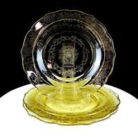 """FEDERAL DEPRESSION GLASS NORMANDIE AMBER 3 PIECE 9 1/4"""" LUNCHEON PLATES 1933"""