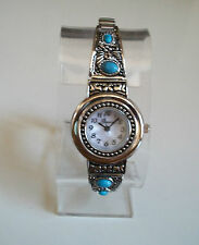 Woman stretchy band silver finish / Turquoise Fashion  watch