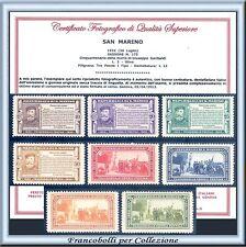 1932 San Marino Serie Garibaldi n. 168/175 Certificato Nuovi Integri **