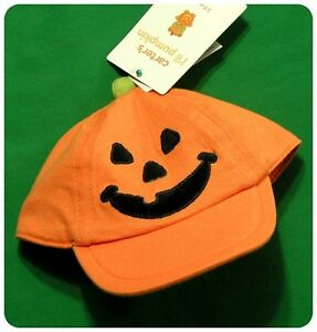 new/NWT~CARTERS BABY INFANT HAT CAP~HALLOWEEN JACK-O-LANTERN PUMPKIN~3 TO 9 M